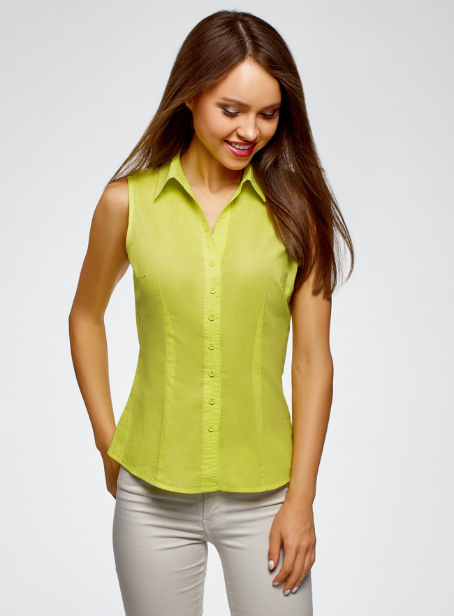 Рубашка базовая без рукавов oodji для женщины (зеленый), 11405063-4B/45510/6A00N