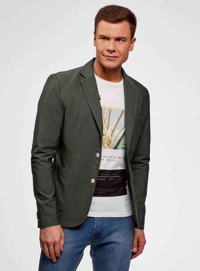 Пиджак приталенный с накладными карманами oodji #SECTION_NAME# (зеленый), 2B510005M/39355N/6600N