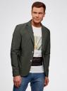 Пиджак приталенный с накладными карманами oodji #SECTION_NAME# (зеленый), 2B510005M/39355N/6600N - вид 2