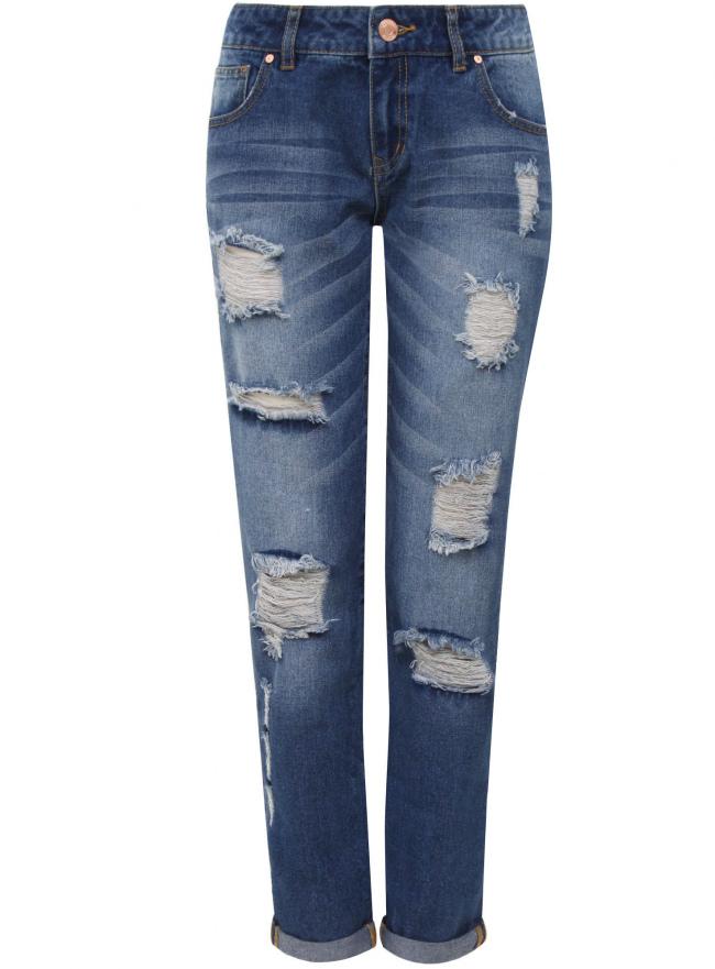 Джинсы-бойфренды с винтажными потертостями oodji для женщины (синий), 12105013/45215/7500W