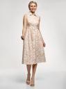 Платье хлопковое без рукавов oodji для женщины (белый), 11913058/13175N/1233A