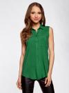 Топ вискозный с нагрудным карманом oodji для женщины (зеленый), 11411108B/26346/6E00N - вид 2