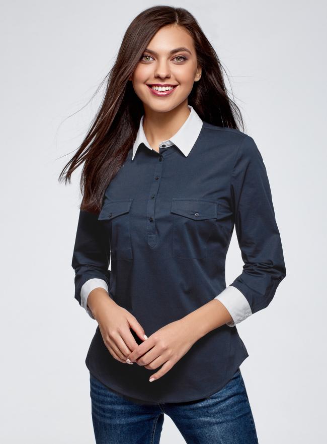 Рубашка хлопковая с нагрудными карманами oodji для женщины (синий), 13K03008/26357/7910B