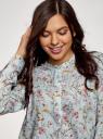 Блузка вискозная А-образного силуэта oodji #SECTION_NAME# (синий), 21411113-1B/48458/6543F - вид 4