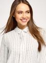 Блузка прямого силуэта с завязками на воротнике oodji для женщины (белый), 11411197/36215/1229O