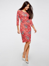 Платье трикотажное с вырезом-капелькой на спине oodji #SECTION_NAME# (красный), 24001070-5/15640/4530F - вид 6
