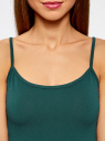 Майка базовая на тонких бретелях oodji для женщины (зеленый), 14306001-2B/46064/6E00N
