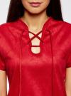Платье из искусственной замши с завязками oodji #SECTION_NAME# (красный), 18L00001/45778/4500N - вид 4