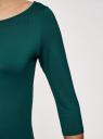 Футболка базовая с рукавом 3/4 oodji для женщины (зеленый), 24211001B/45297/6E01N