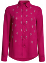 Блузка из струящейся ткани с украшением из страз oodji #SECTION_NAME# (розовый), 11411128/36215/4700N