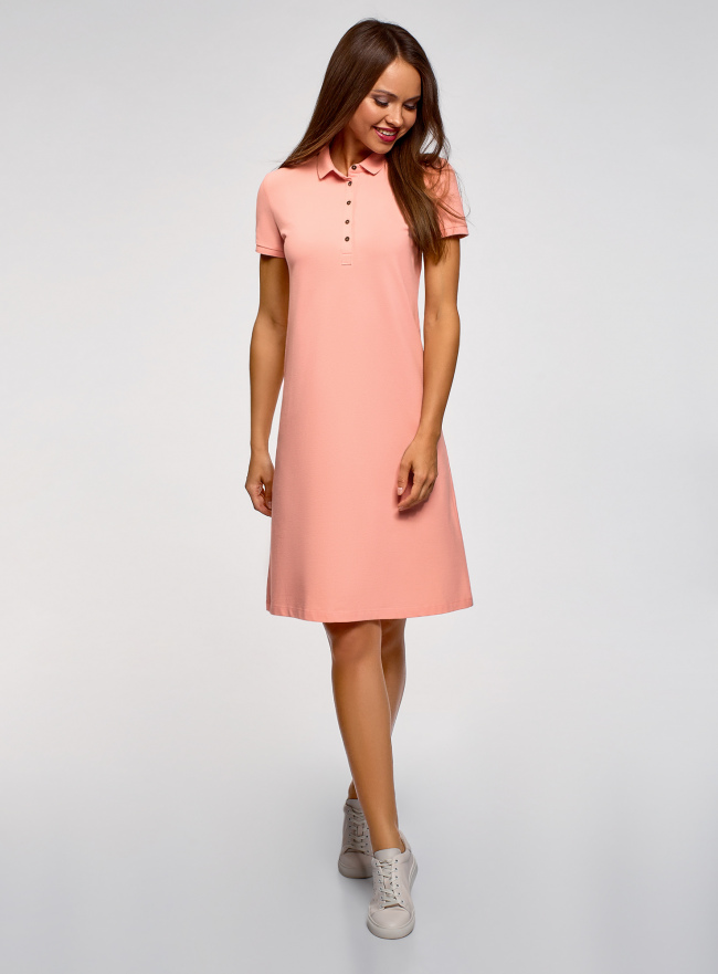Платье-поло из ткани пике oodji для женщины (розовый), 24001118-4B/48433/4300N