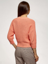 Джемпер свободного силуэта фактурной вязки oodji для женщины (розовый), 63803080/18369/5400N