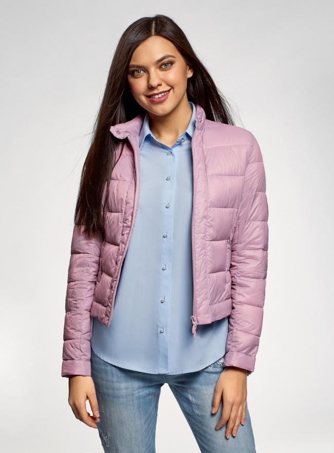 Куртка стеганая с воротником-стойкой oodji для женщины (фиолетовый), 10203038-5B/47020/8000N