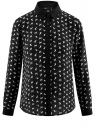 Блузка принтованная из шифона oodji #SECTION_NAME# (черный), 11400394-1/36215/2912K