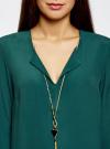 Блузка прямого силуэта с украшением oodji #SECTION_NAME# (зеленый), 21404021/43281/6E00N - вид 4