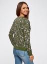 Свитшот принтованный с круглым вырезом oodji для женщины (зеленый), 14807021-1/46919/6680F