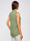 Топ вискозный с нагрудным карманом oodji для женщины (зеленый), 11411108B/26346/6200N - вид 3