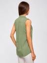 Топ вискозный с нагрудным карманом oodji #SECTION_NAME# (зеленый), 11411108B/26346/6200N - вид 3