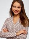 Блузка принтованная из вискозы oodji #SECTION_NAME# (розовый), 11411049-1/24681/4020K - вид 4