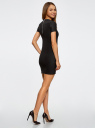 Платье трикотажное с коротким рукавом oodji #SECTION_NAME# (черный), 14011007/45262/2900N - вид 3