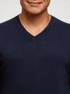 Пуловер базовый с V-образным вырезом oodji #SECTION_NAME# (синий), 4B212007M/39796N/7900N - вид 4