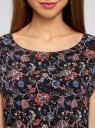 Блузка принтованная из вискозы oodji #SECTION_NAME# (черный), 11400345-2/24681/2945F - вид 4