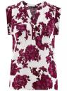 Блузка принтованная из вискозы с двумя карманами oodji #SECTION_NAME# (розовый), 21412132/24681/4C10F