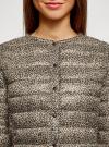 Куртка стеганая с круглым вырезом oodji #SECTION_NAME# (бежевый), 10204040-1B/42257/3329A - вид 4