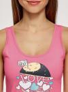 Пижама с шортами и принтом oodji для женщины (розовый), 56002152-21/46158/4D41P - вид 4