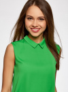 Блузка базовая без рукавов с воротником oodji #SECTION_NAME# (зеленый), 11411084B/43414/6A01N - вид 4