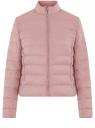 Куртка стеганая с воротником-стойкой oodji для женщины (розовый), 10203096/33445/4A00N