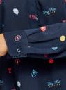 Блузка вискозная прямого силуэта oodji #SECTION_NAME# (синий), 21400394-1B/24681/7919O - вид 5