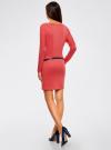 Платье трикотажное с ремнем oodji #SECTION_NAME# (розовый), 14008010/15640/4300N - вид 3