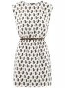 Платье вискозное с поясом oodji для женщины (слоновая кость), 11910073-1/26346/1275E