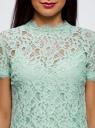Блузка ажурная с коротким рукавом oodji #SECTION_NAME# (зеленый), 11401277/48132/6500L - вид 4