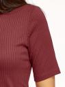 Джемпер в рубчик с круглым вырезом oodji для женщины (красный), 14701075/46412/4902N
