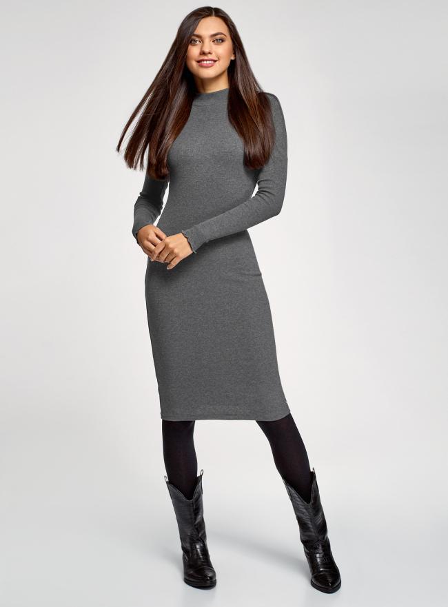 Платье трикотажное с воротником-стойкой oodji для женщины (серый), 14011035-2B/48037/2501M
