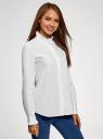 Рубашка с воротником-стойкой oodji для женщины (белый), 13K11020/49495/1000N