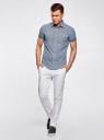 Рубашка с коротким рукавом и нагрудными карманами oodji #SECTION_NAME# (синий), 3L410072M/44182N/1075C - вид 6