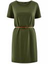 Платье вискозное с ремнем oodji #SECTION_NAME# (зеленый), 11901154-2/47741/6800N
