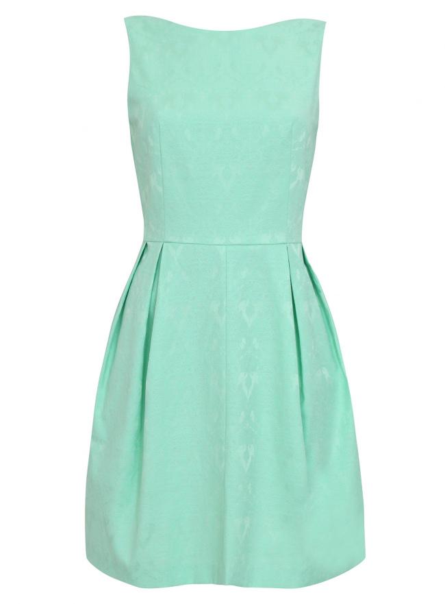 Платье жаккардовое с боковыми карманами oodji для женщины (зеленый), 21913011/35196/6500N