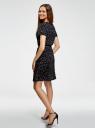 Платье с вырезом-капелькой и поясом на резинке oodji #SECTION_NAME# (черный), 11913043/46633/2957G - вид 3