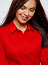 Рубашка хлопковая базовая oodji для женщины (красный), 13K03001-1B/14885/4501N