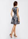 Платье приталенное с расклешенной юбкой oodji #SECTION_NAME# (синий), 11902151/24393/7419U - вид 3