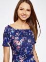 Платье трикотажное с вырезом-лодочкой oodji #SECTION_NAME# (синий), 14007026-2B/42588/7980F - вид 4