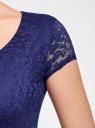 Платье приталенное кружевное oodji #SECTION_NAME# (синий), 14001133-1/35553/7500N - вид 5