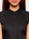 Рубашка с коротким рукавом из хлопка oodji #SECTION_NAME# (черный), 11403196-3/26357/2900N - вид 4