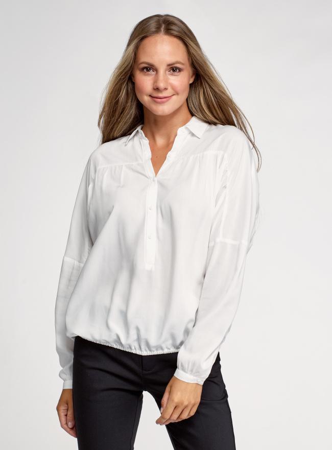 Блузка с отложным воротником oodji для женщины (белый), 11400456/42540/1200N