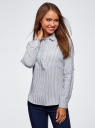 Рубашка в полоску с карманами oodji #SECTION_NAME# (белый), 13K03002-4B/46807/1079S - вид 2