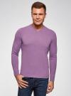 Пуловер базовый с V-образным вырезом oodji для мужчины (фиолетовый), 4B212007M-1/34390N/8001M - вид 2